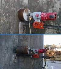 10 inch core drill hole in a reinforced concrete foundation wall Picture 1