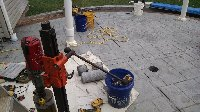 core drilling stamped concrete patio Picture 1